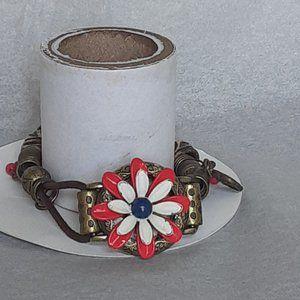 Jewelry - Upcycle boho gypsy flower bracelet